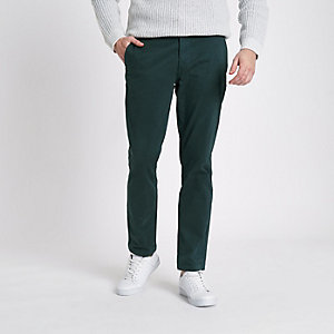 Donkergroene slim-fit chino