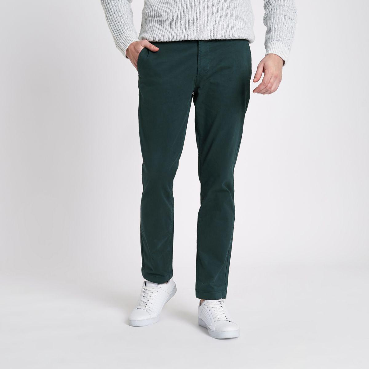 Dark green slim fit chino trousers