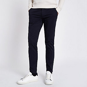Pantalon chino super skinny stretch bleu marine