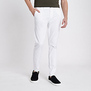 Weiße, dehnbare Superskinny Chino-Hose