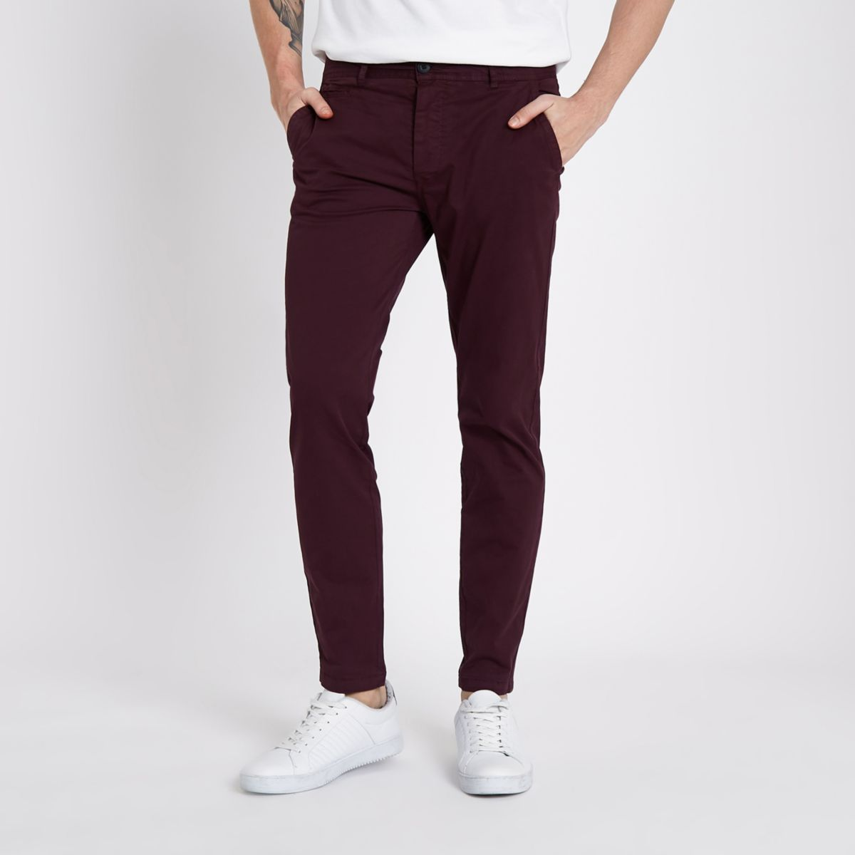 Burgundy super skinny stretch chino trousers