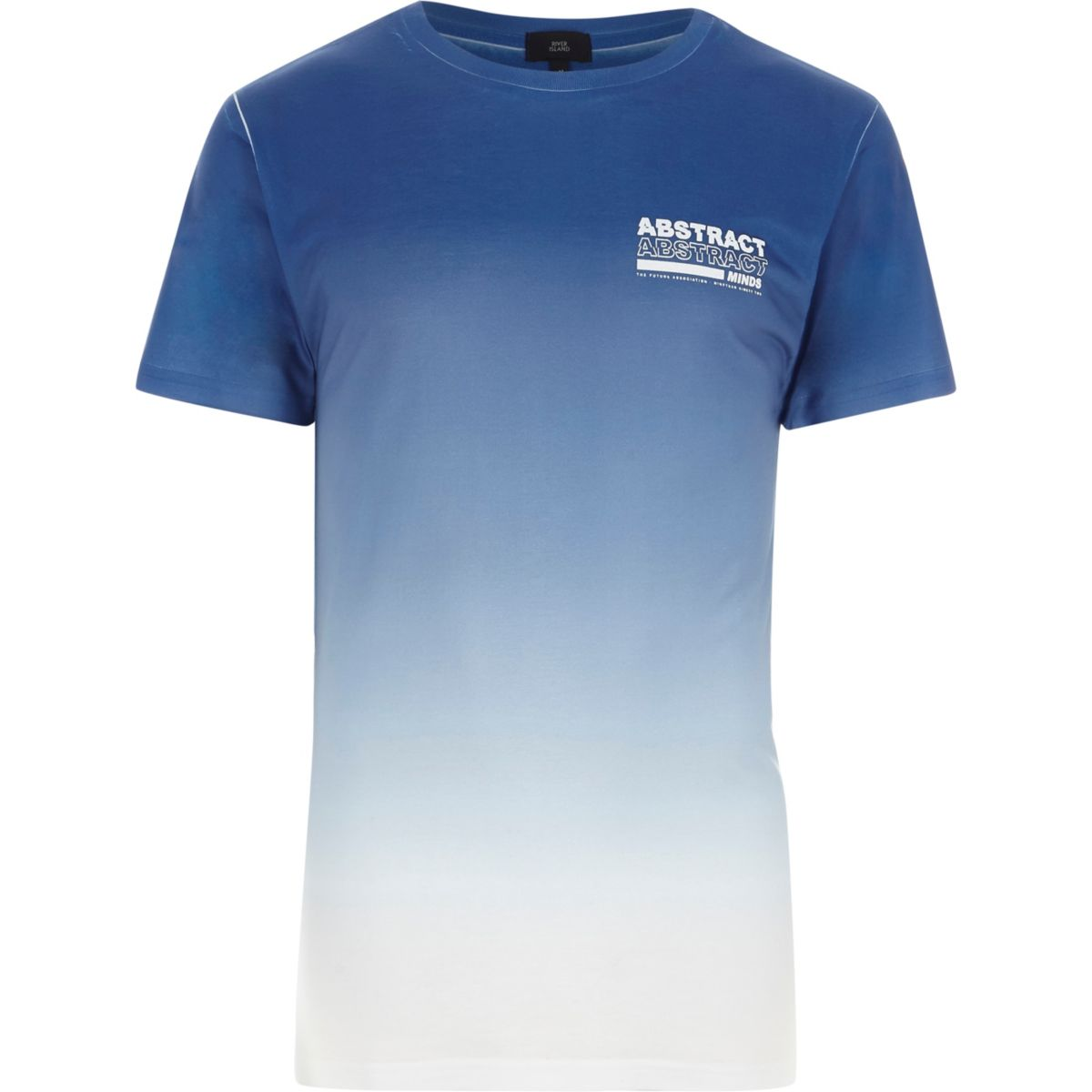 Blue 'abstract' chest print fade T-shirt