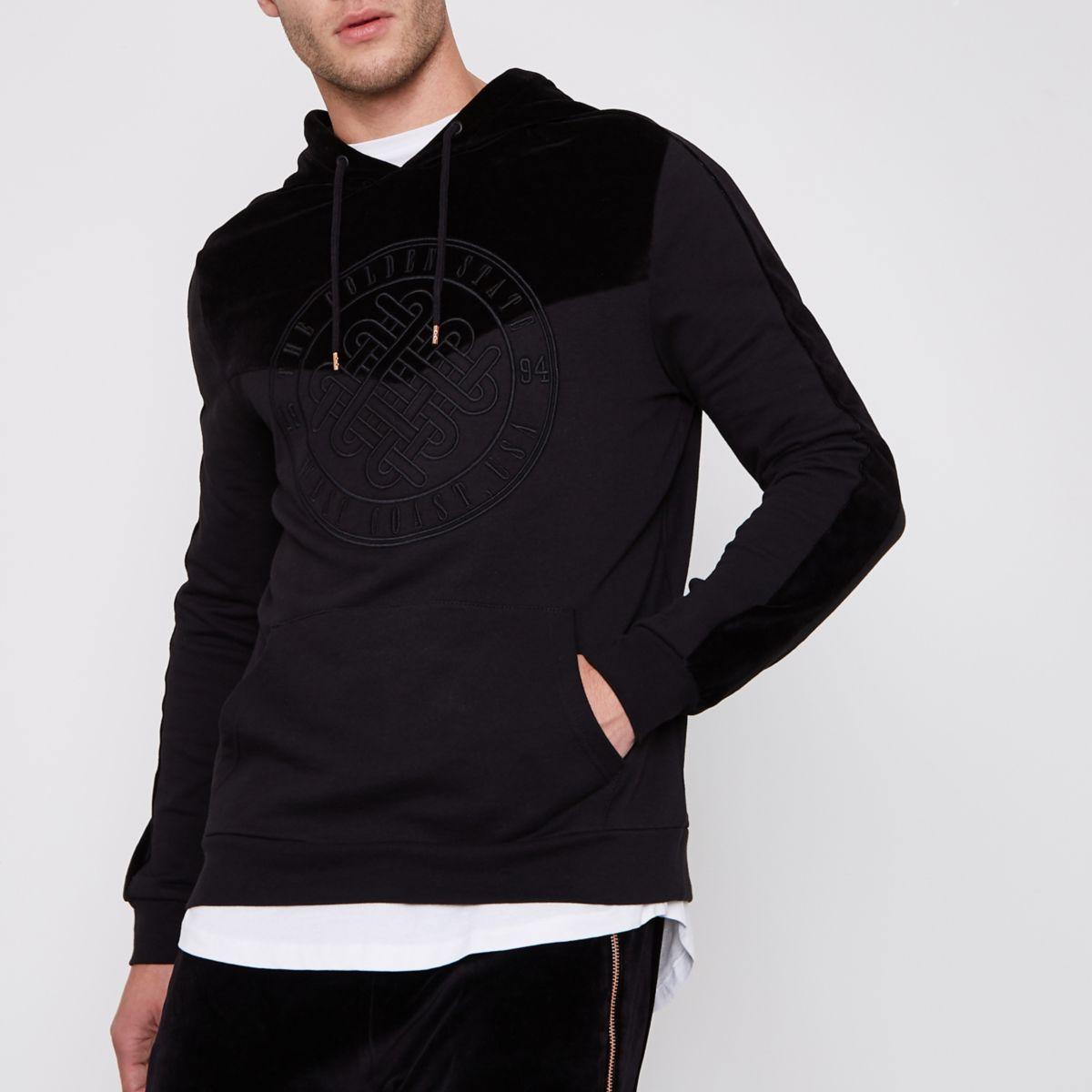 Black 'Golden State' velvet block hoodie