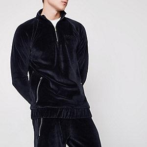 Marineblauw velours sweatshirt met halve rits en 'undercover'-print