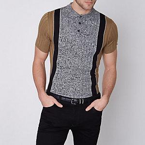 Tan muscle fit block stripe rib polo shirt