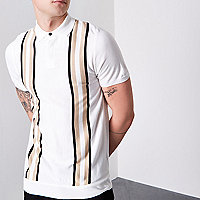 Cream block slim fit knitted polo shirt