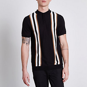 Black stripe block slim fit knit polo shirt