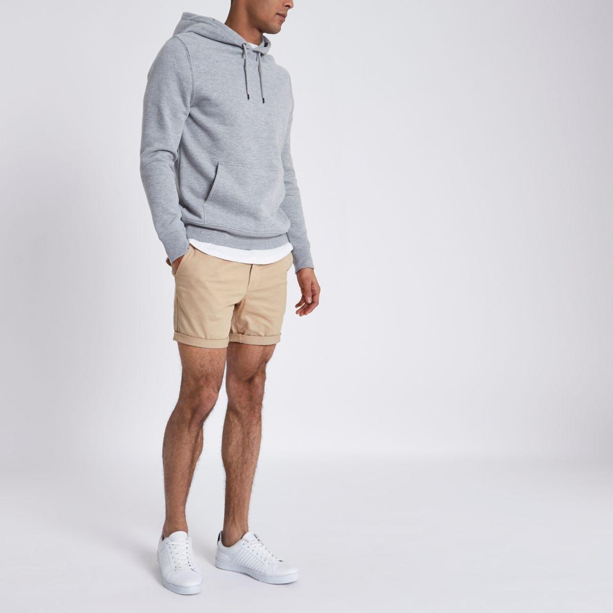Tan turn-up hem slim fit chino shorts