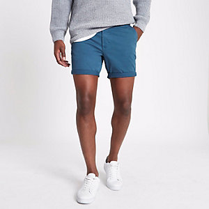 Petrol blue turn-up hem slim fit chino shorts