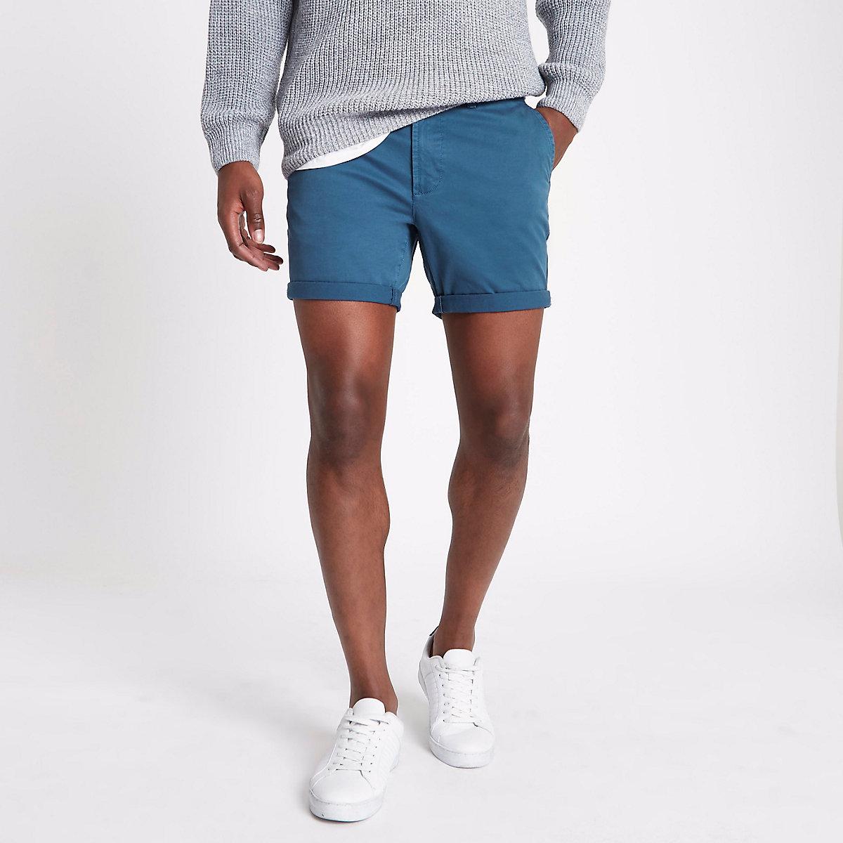 Petrol blue turn-up hem slim fit chino shorts
