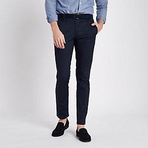 Pantalon chino slim bleu marine à ceinture