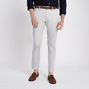 Light grey belted slim fit chino trousers