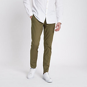 Kakigroene slim-fit chino