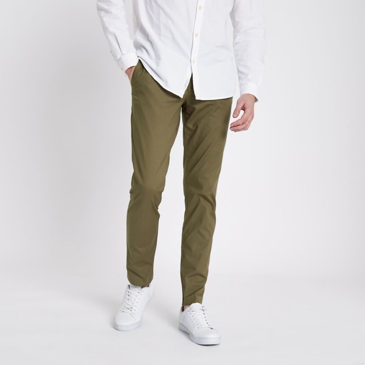 Khaki green slim fit chino trousers