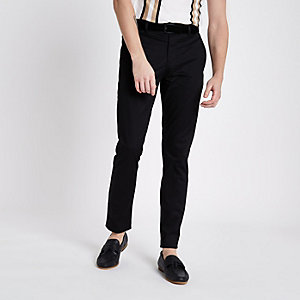 Black skinny fit belted chino pants