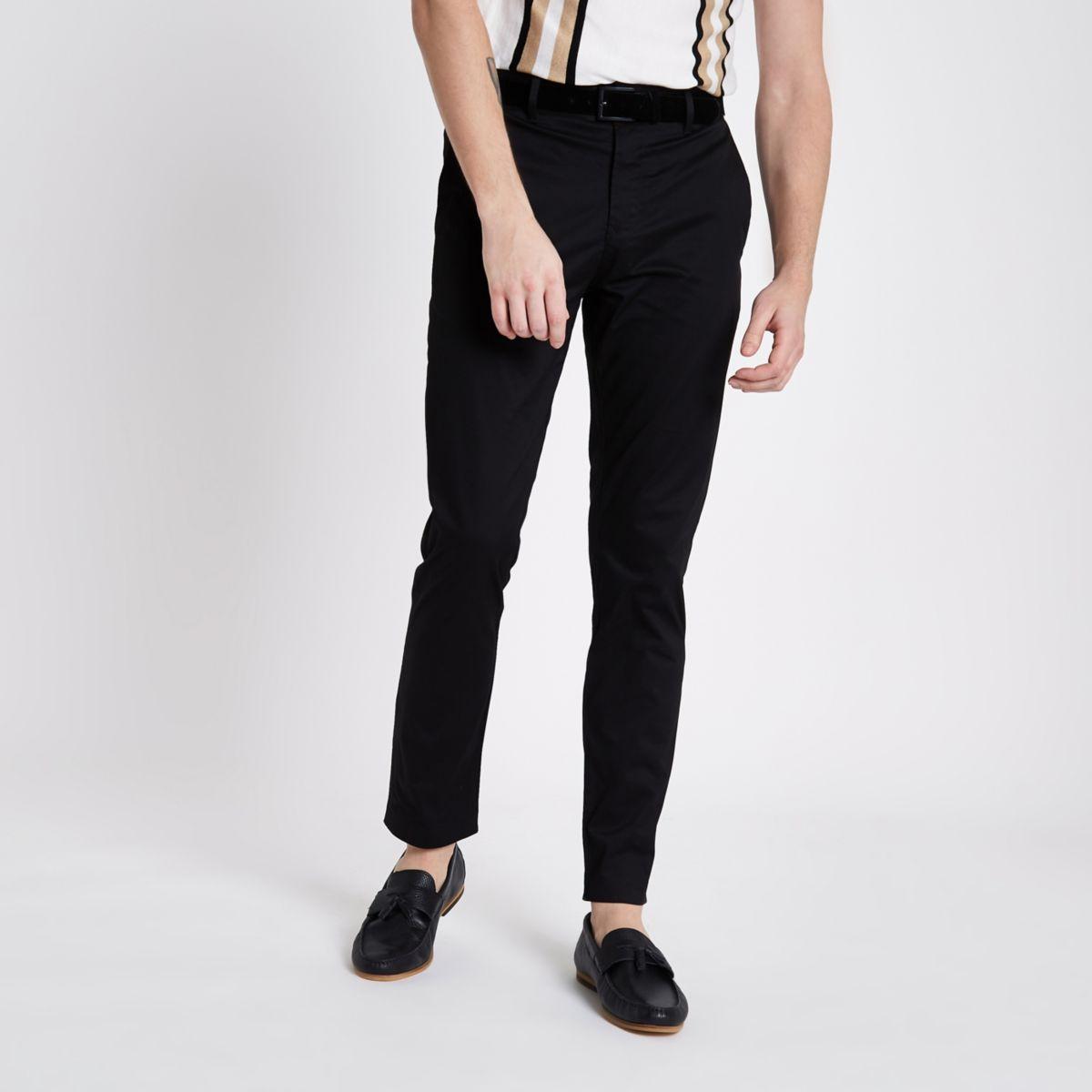 Schwarze Skinny Fit Chino-Hose mit Gürtel