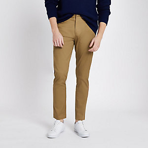 Pantalon chino skinny fauve