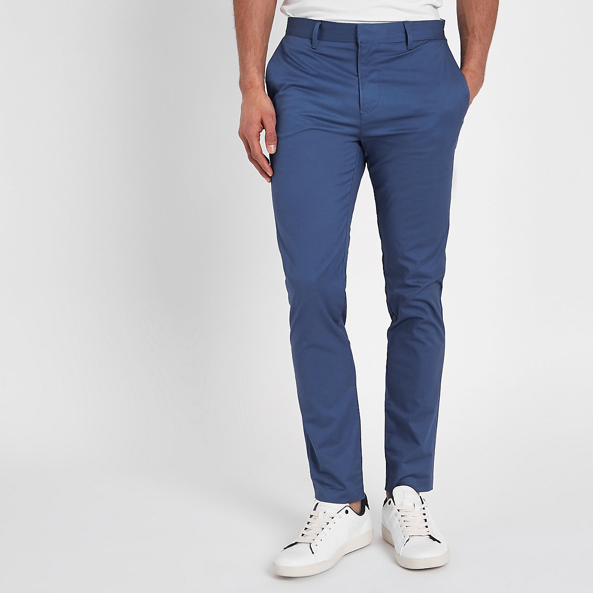 Blue skinny chino trousers