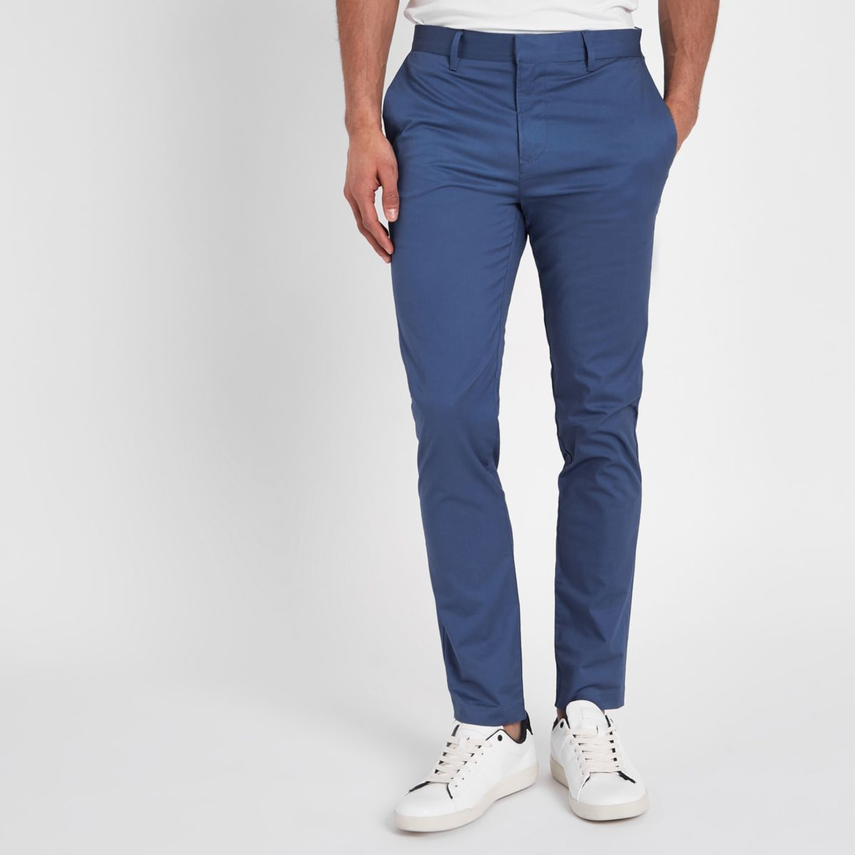 Blue skinny chino pants