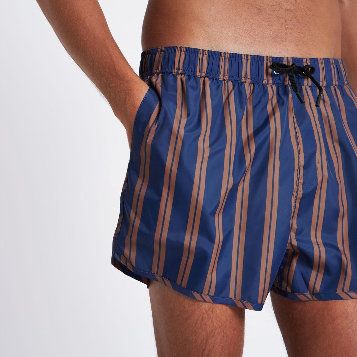 Blue stripe runner style short swim shorts