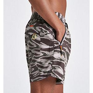 Shorts de bain kaki motif camouflage coupe courte