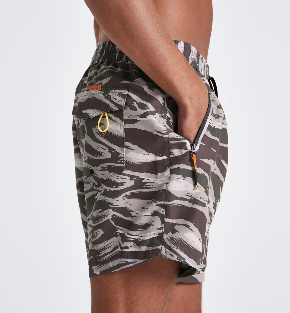 Khaki green camo short swim shorts