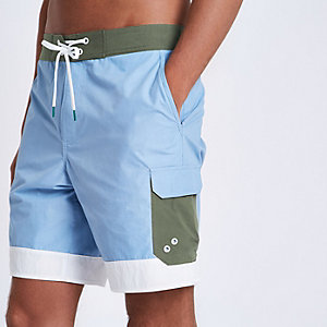 Blue colour block swim shorts