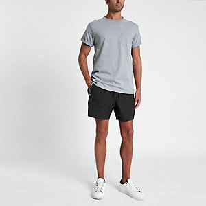 Black zip pocket swim shorts