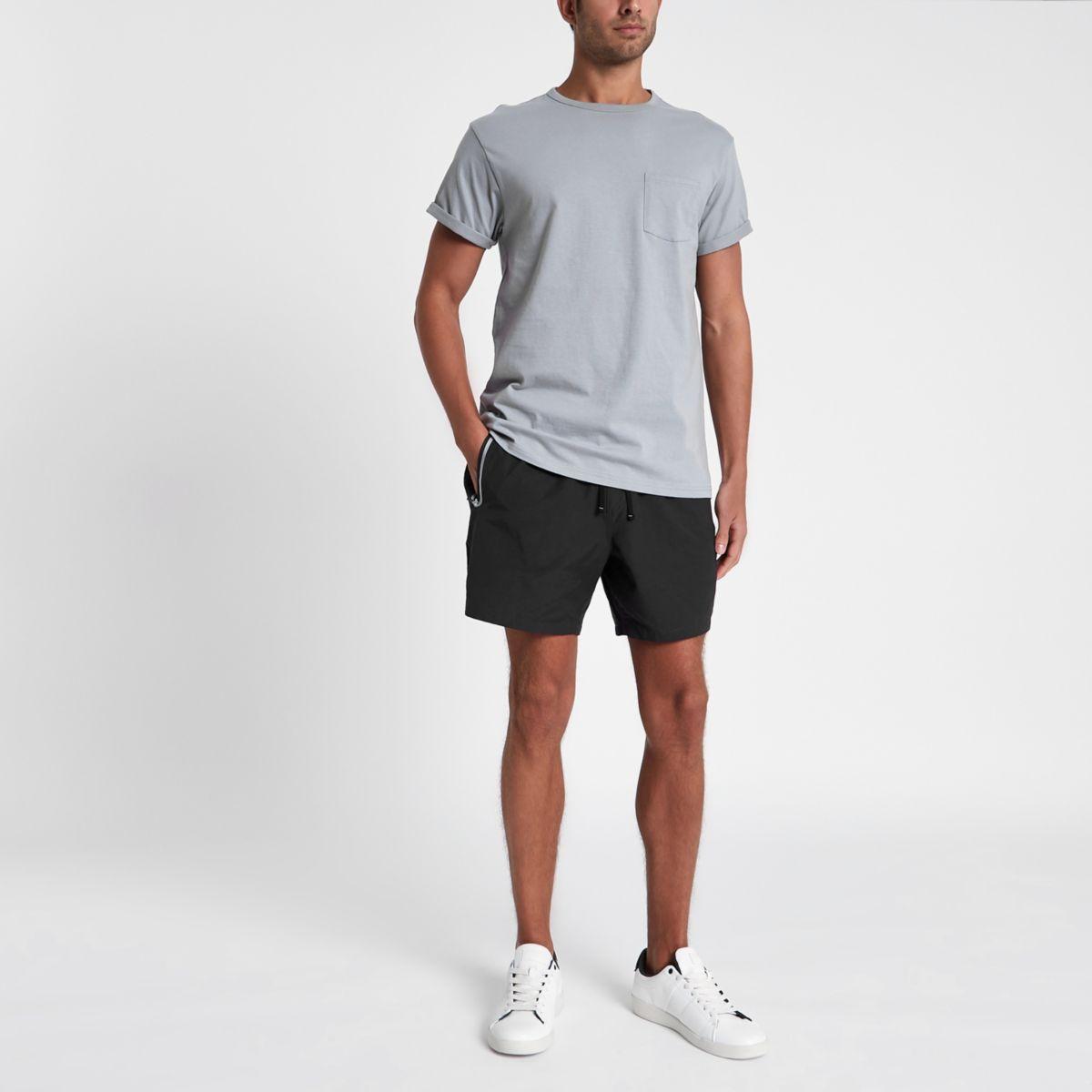 Black zip pocket swim shorts