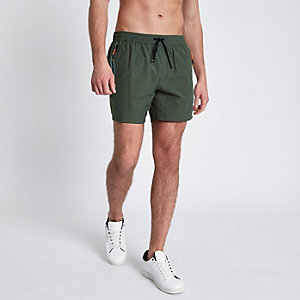 Khaki green zip pockets swim shorts