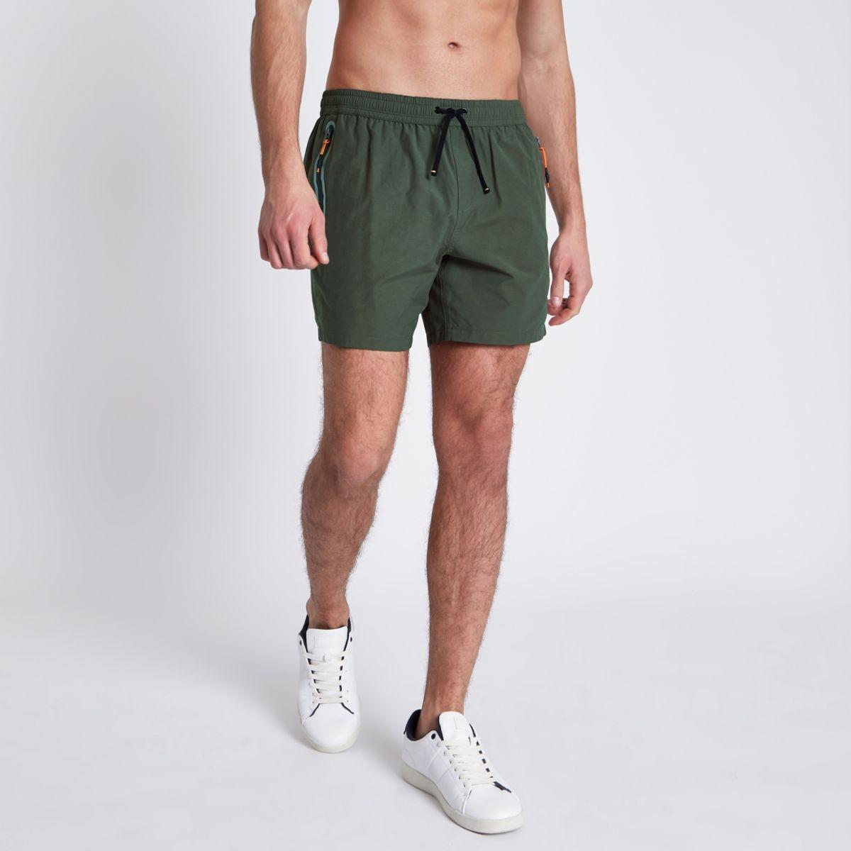 Khaki green zip pockets short swim shorts