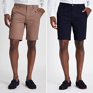 Slim Fit Chino-Shorts in Marineblau und Hellbraun