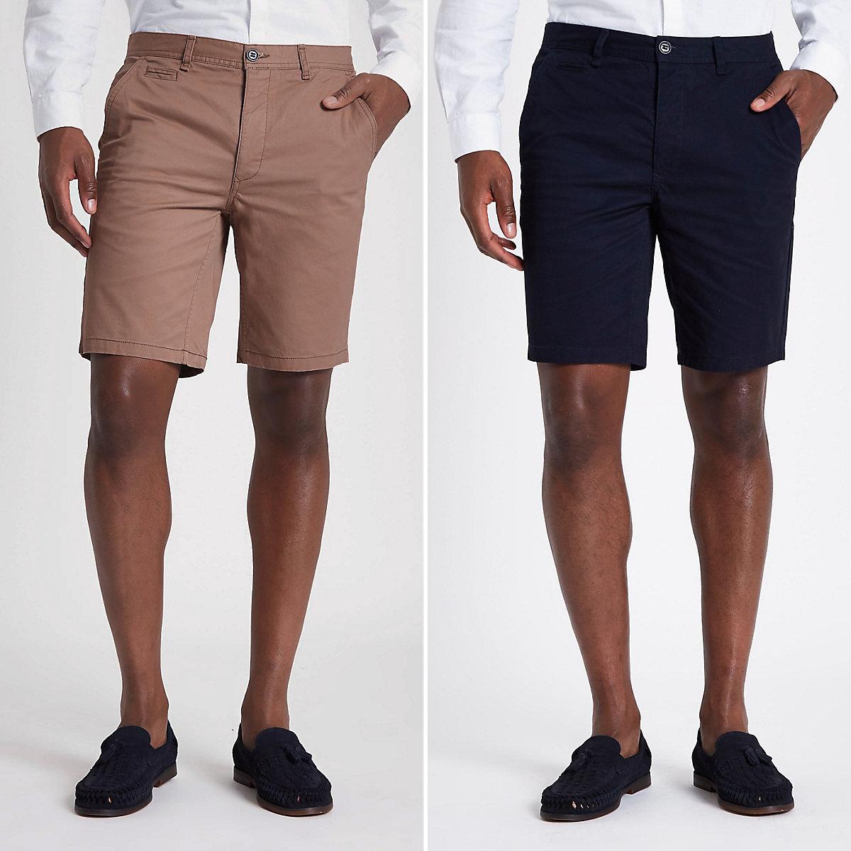 Navy and tan slim fit chino shorts multipack