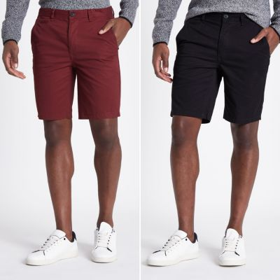 Multipack Zwarte Slim Fit Chino Shorts by River Island