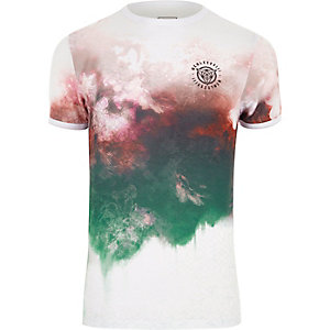 White smudge print muscle fit T-shirt