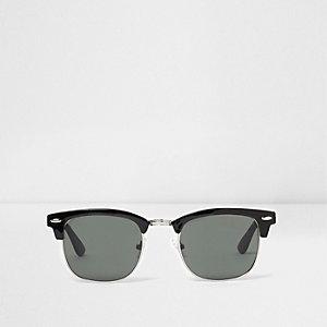 Schwarze Retro-Sonnenbrille mit halben Fassungen