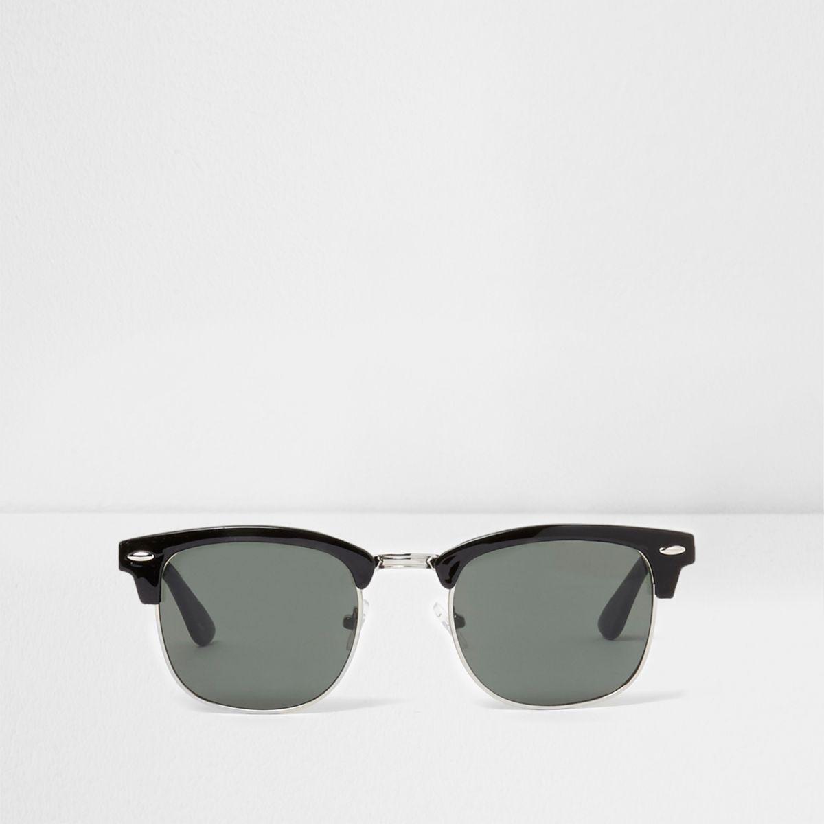 Retro zonnebril met zwart half montuur