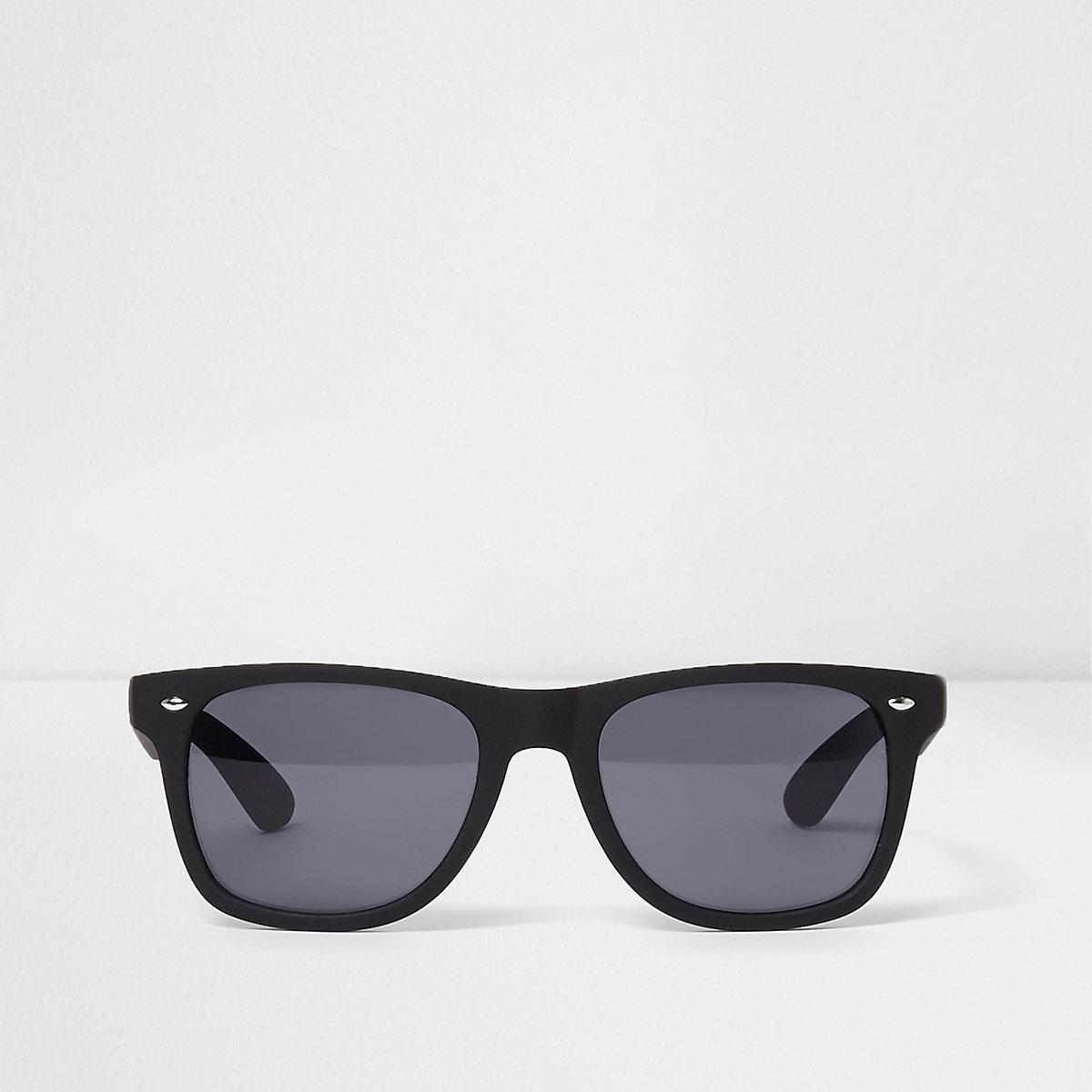 Black rubberised retro square sunglasses