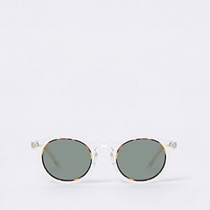 Clear round retro smoke lens sunglasses