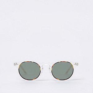 Doorzichtige ronde retro zonnebril met getinte glazen
