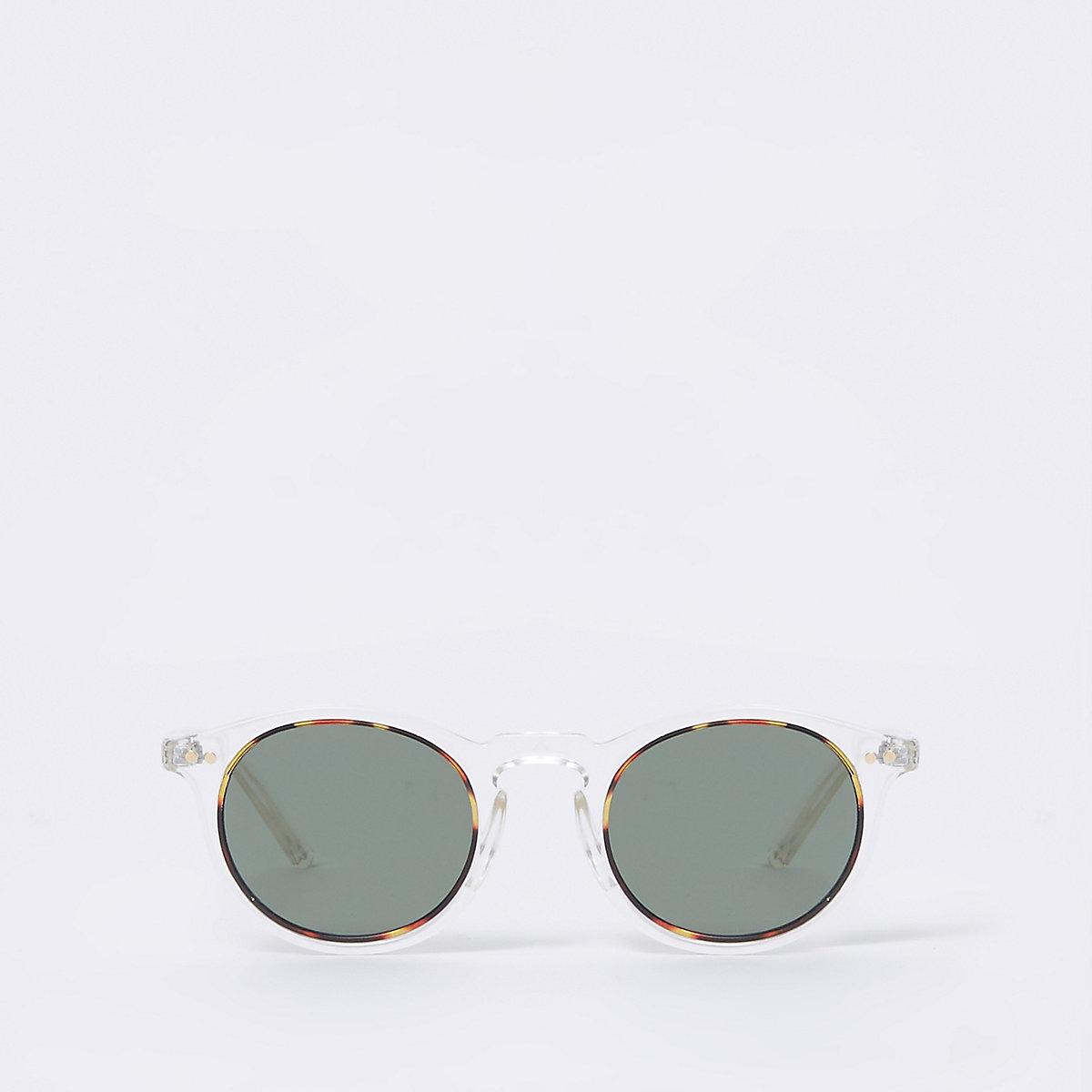 Clear round retro smoke lens sunglasses