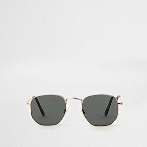 Sechseckige Sonnenbrille mit getönten Gläsern