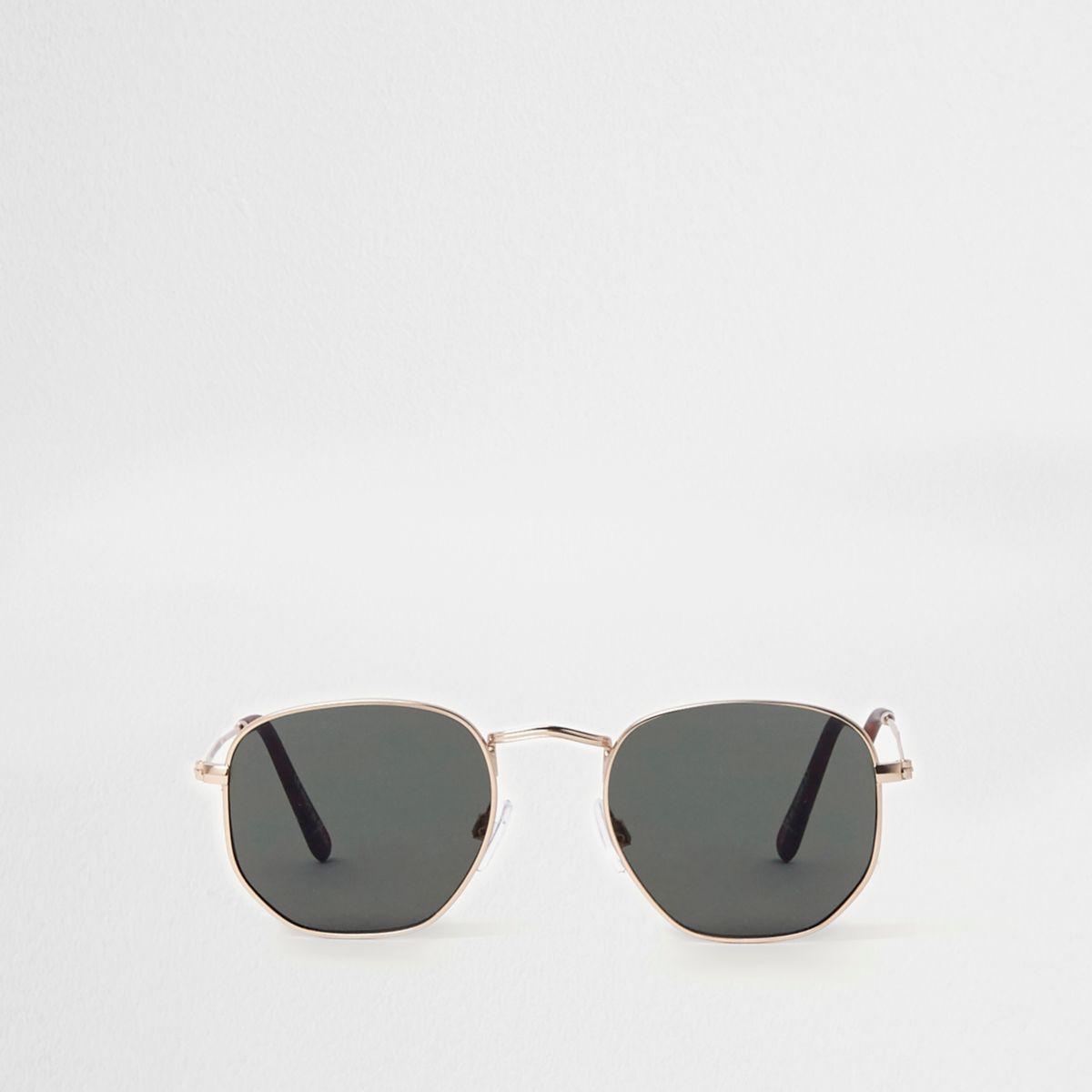 Gold tone hexagon smoke lens sunglasses