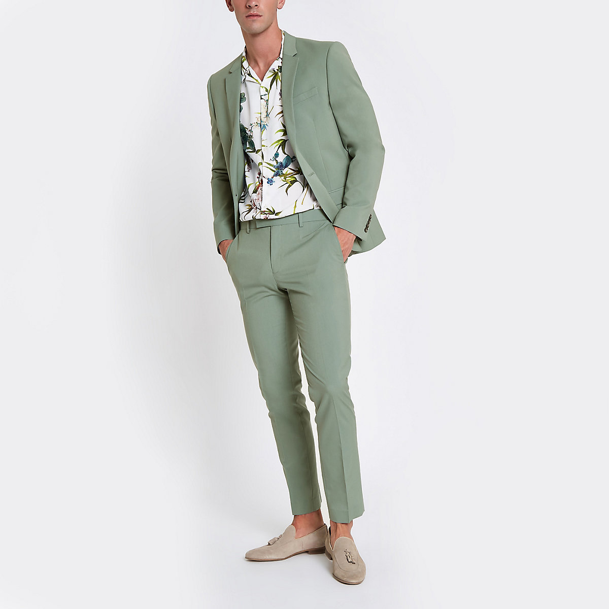Mint green stretch skinny fit suit trousers
