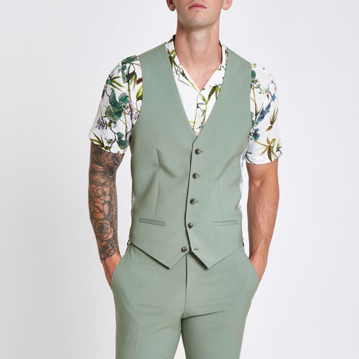 Mint green suit waistcoat