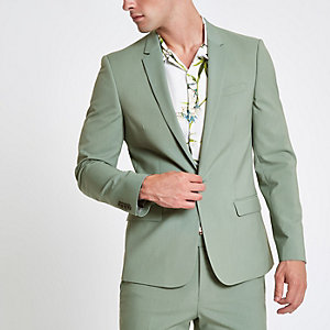 Veste de costume skinny stretch vert menthe