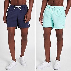 Navy and mint blue short swim trunks pack