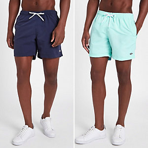Lot de shorts de bain bleu menthe et bleu marine coupe courte