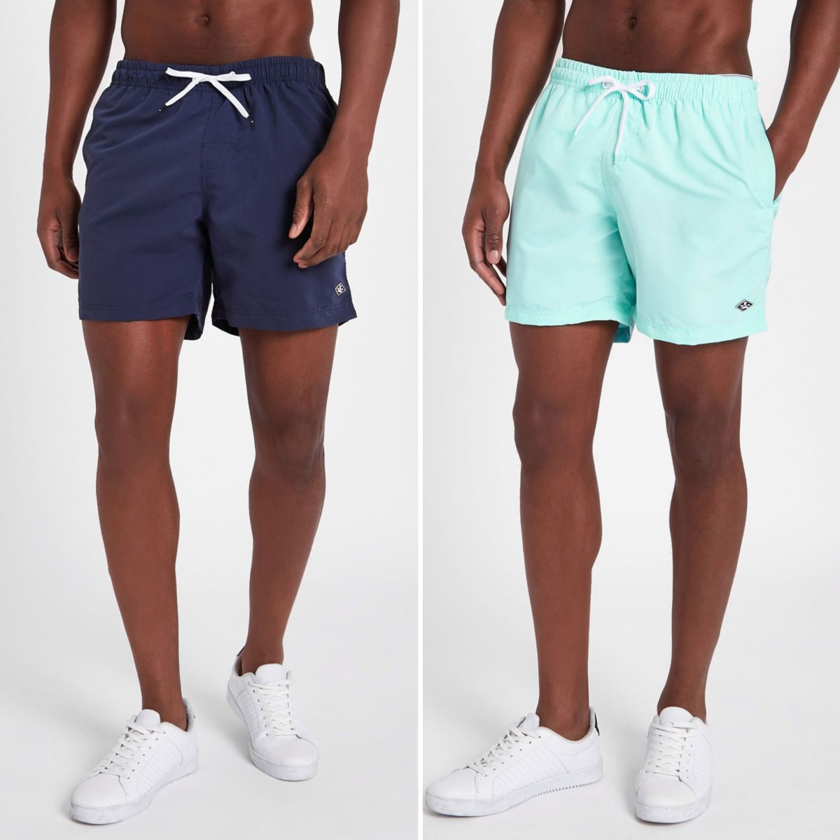 Navy and mint blue short swim shorts pack