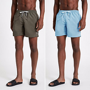 Khaki green and light blue swim trunks pack